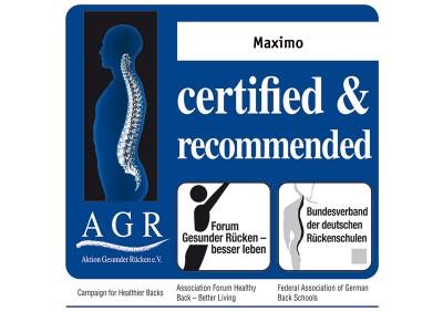 Πιστοποίηση εργονομικής κατασκευής ΑGR για το κάθισμα maximo